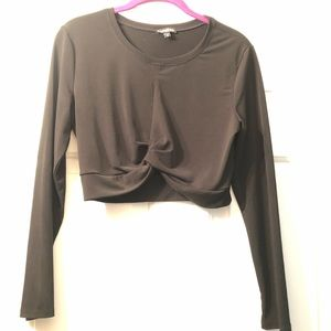 Black, long sleeve, crop top